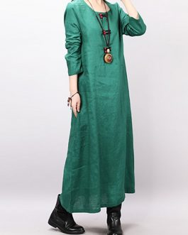 Loose Solid Color Long Sleeve Dress