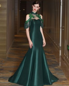 Luxury Mermaid High Collar Sweetheart Illusion Sequin Rhinestones Hunter Green Formal Dresses