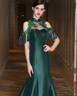 Luxury Mermaid High Collar Sweetheart Illusion Sequin Rhinestones Hunter Green Formal Dresses