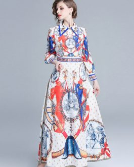 Maxi Shirt Dress Printed Long Sleeve Dress