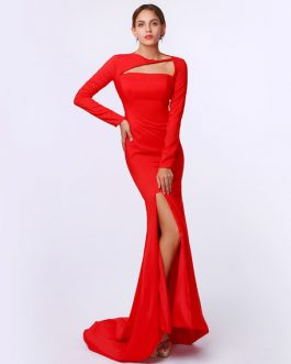 Mermaid Elastic Silk Split Sweep Train Evening Dress Inspired by Shaun Robinson at Oscar