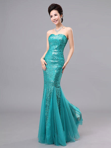 Mermaid Prom Dresses Long Sequin Evening Dress Strapless