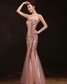 Mermaid Prom Dresses Long Sequin Evening Dress Strapless Formal Gowns