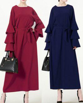 Multi-layer Pile Long Sleeve Long Dress