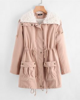 Pink Fleece Lined Preppy Zipper Women Winter Coat