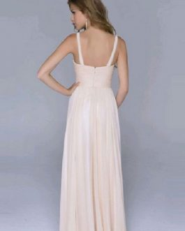 Pink Maxi Dress Sequin Straps Backless Long Prom Dresses For Women