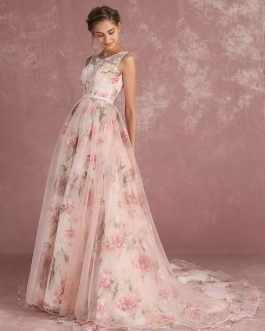 Pink Prom Dresses 2019 Long Floral Print Organza Pageant Dress Backless Chapel Train Party