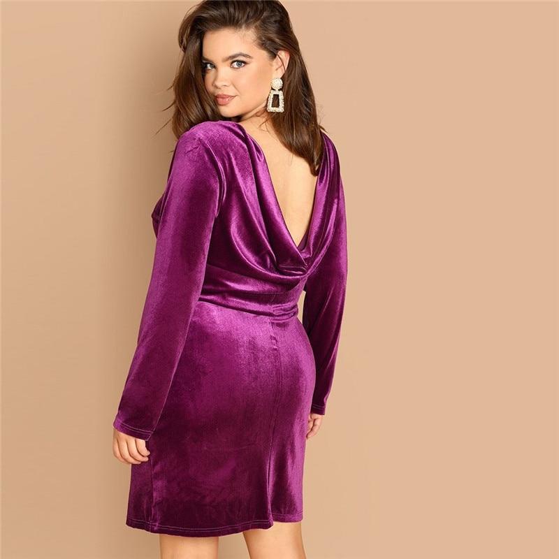 Plus Size Sexy Backless Purple Velvet Winter Party Dress 1