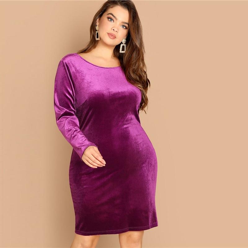 Plus Size Sexy Backless Purple Velvet Winter Party Dress 2