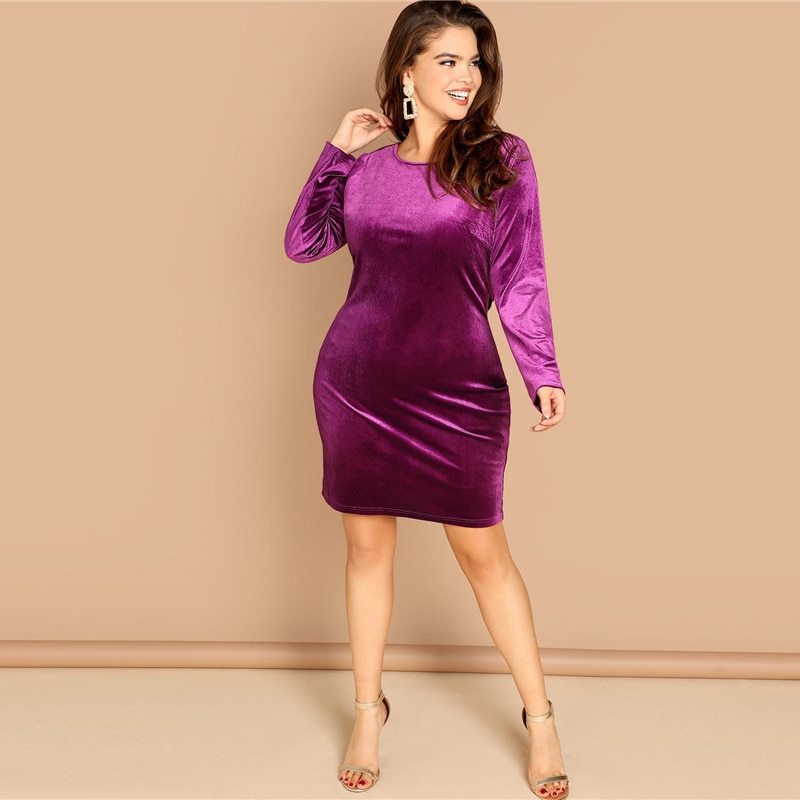 Plus Size Sexy Backless Purple Velvet Winter Party Dress 3