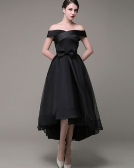 Prom Dress Asymmetrical A Line Organza Sash Bow A Line Evening Dress