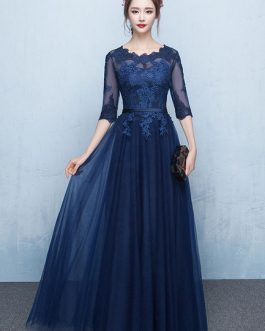 Prom Dress 2019 Long Lace Applique Evening Dress Tulle Dark Navy Sash Floor Length Party Dress