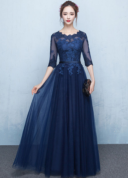 f8691a7baf450 Prom Dress 2019 Long Lace Applique Evening Dress Tulle Dark Navy Sash Floor  Length Party Dress