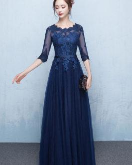 Prom Dress 2019 Long Lace Applique Evening Dress Tulle Dark Navy Sash Floor Length Party Dress