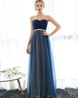Prom Dress Strapless Dark Navy Sweetheart Neckline Long Party Dresses Beaded Sash Pleated Tulle Floor Length Evening Dress