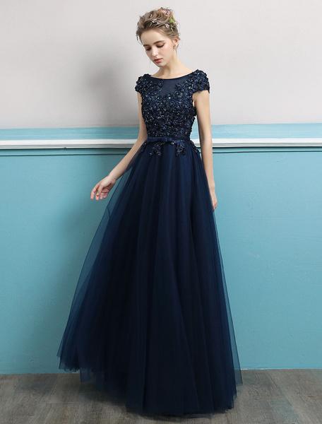1f3e36ec Prom Dresses 2019 Long Dark Navy Evening Dress Jewel Neck Open Back ...