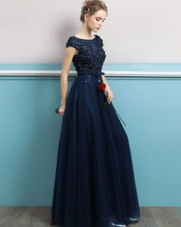 Prom Dresses 2019 Long Dark Navy Evening Dress Jewel Neck Open Back Sequin Flowers Beaded Tulle Floor Length Formal Gowns