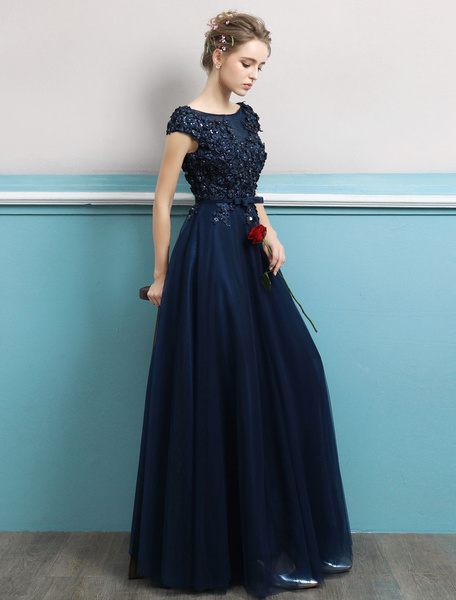 3b6df052f5 ... Dark Navy Evening Dress Jewel Neck Open Back Sequin Flowers Beaded  Tulle Floor Length Formal Gowns. Sale! Previous Product · Next Product. 🔍.   185.00   ...