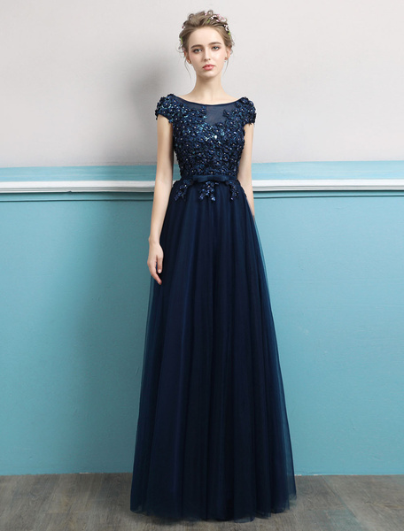 518dc79f1e1 ... Navy Evening Dress Jewel Neck Open Back Sequin Flowers Beaded Tulle  Floor Length Formal Gowns. Sale! Previous Product · Next Product. 🔍.   185.00   ...