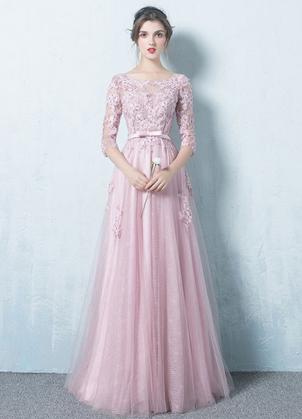 2ee550dd08386 Prom Dresses 2019 Long Tulle Backless Prom Dress Lace Applique Three  Quarter Sleeve Sash Maxi Occasion Dress