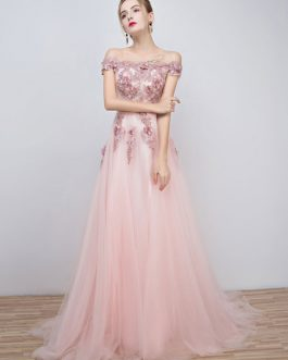 Prom Dresses 2019 Long Tulle Off The Shoulder Prom Dress Lace Applique Beading Flower Occasion Dress With Train