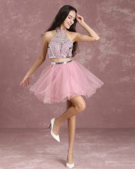 Prom Dresses Crop Top Tutu Tulle Illusion Beading High Collar A Line Mini Party Dress