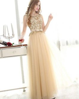 Prom Dresses Light Gold Lace Tulle Long Graduation Dress Bow Sash Floor Length Party Dress