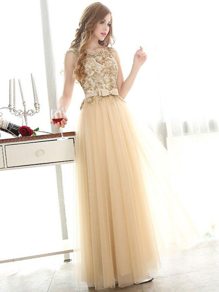 f05f397a54 ... Prom Dresses Light Gold Lace Tulle Long Graduation Dress Bow Sash Floor  Length Party Dress. Sale! Previous Product · Next Product. 🔍. $217.00  $164.99