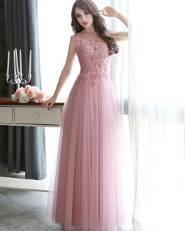 Prom Dresses Long Lace Applique Beaded Tulle Floor Length Backless Formal Party Dress