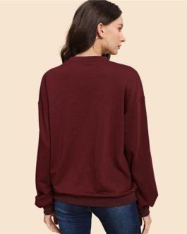 Pullover Women Autumn Plain Minimalist Sweatshirts