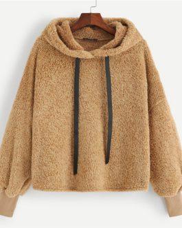 Pullovers Casual Drawstring Preppy Sweatshirt Women Autumn Minimalist Sweatshirts