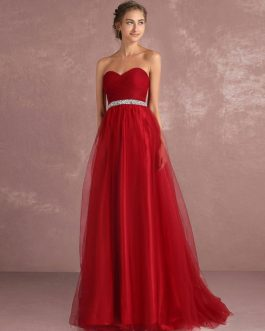 Red Prom Dresses Long Strapless Backless Tulle Evening Dress Sweetheart Sleeveless Rhinestones Sash A Line Party Dress With Train