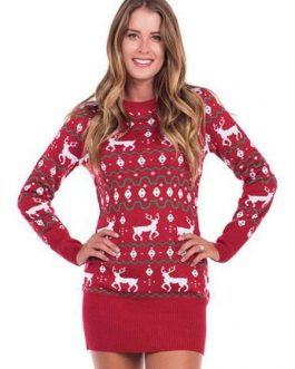 Red Sweater Dress Long Sleeve Christmas Print Shaping Knit Mini Dress