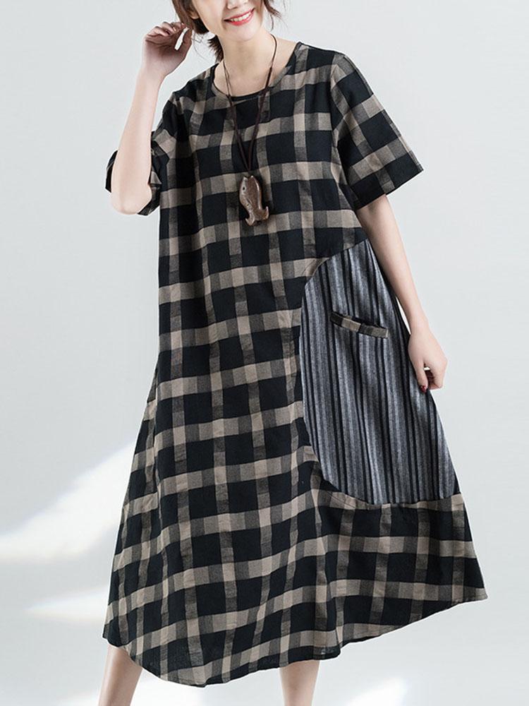 Retro Plaid Patchwork Irregular Long Dress 1