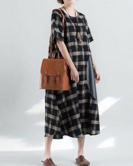 Retro Plaid Patchwork Irregular Long Dress