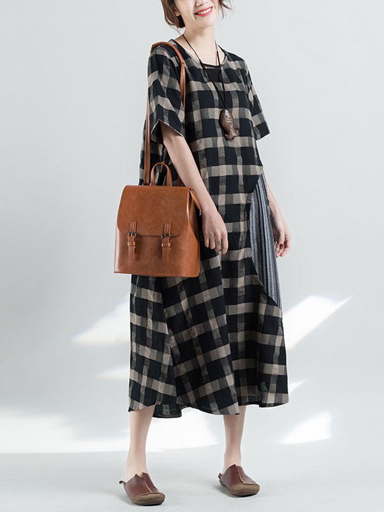 Retro Plaid Patchwork Irregular Long Dress 2
