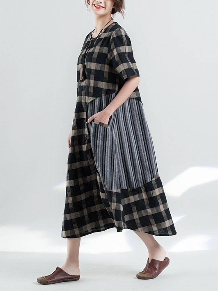 Retro Plaid Patchwork Irregular Long Dress 3