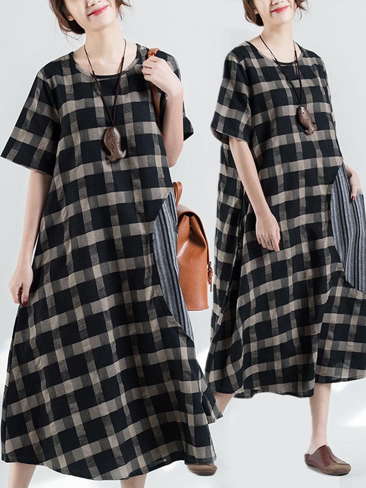 Retro Plaid Patchwork Irregular Long Dress 4