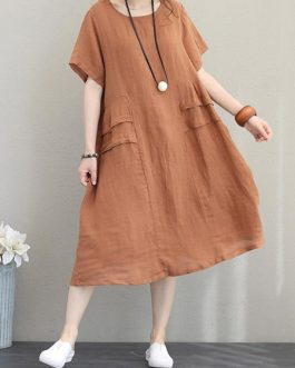 Retro Women Casual Cotton Solid Color Dress