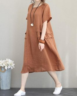 Retro Women Casual Cotton Solid Color Dress