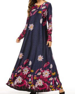 Rose floral print long dress