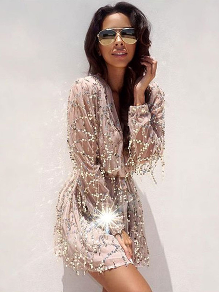 99b44caef84a ... Sequin Mini Dress Glitter Sexy Party Dress V Neck Long Sleeve Short  Dress For Women. Sale! Previous Product · Next Product. 🔍. $115.99 $71.92