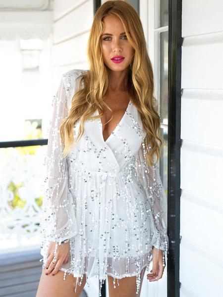 f80b00cf057e Sequin Mini Dress Glitter Sexy Party Dress V Neck Long Sleeve Short Dress  For Women