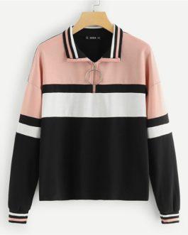 Sew Colorblock Sweatshirt 2018 Autumn Casual Women Sweatshirts