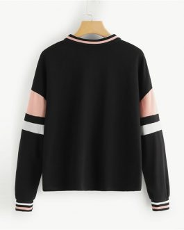 Sew Colorblock Sweatshirt 2018 Autumn Casual Women Sweatshirts