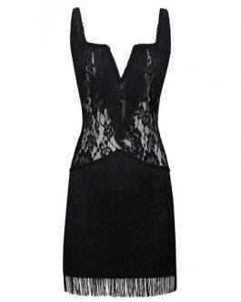 Sexy Party Dress 1920s Flapper Dress Fringe Lace Black Stretchy Birthday Dress