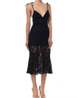 Sexy Party Dress Black Lace Birthday Dress Sheer Fishtail Slip Dress