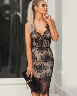 Sexy Party Dress Lace Bodycon Dress Sleeveless Midi Dress