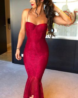 Sexy Party Dress Lace Mermaid Dress Straps High Low Summer Dress