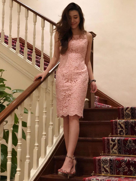 ef69ae8f526d Sexy Party Dress Pink Bodycon Dress Straps Pearls Shaping Midi Dress ...